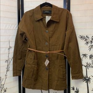 New Zara Brown Belted Jacket